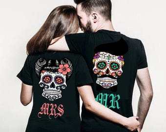 Couples shirts, His and Hers MR AND MRS couples shirt sugar skull clothing, sugar skull shirt couples shirts gift