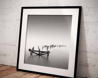 Wall Art Print | Swanage old pier BW, Dorset | Gloss Print, Fine Art Print or Canvass Wrap | Various sizes