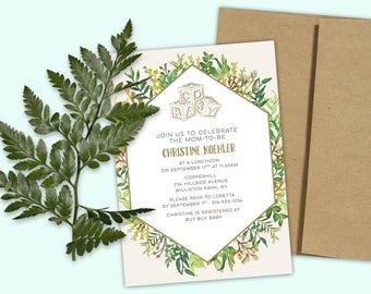 Baby Shower Invitation - ABC Baby Blocks and Foliage - Gender Neutral - DESIGN DEPOSIT