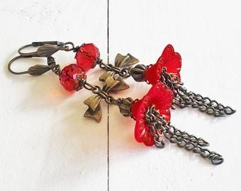 Romantic earrings in vintage style, floral earrings, brass earrings, bronze earrings, lucite flower earrings, floral jewelry, red earrings
