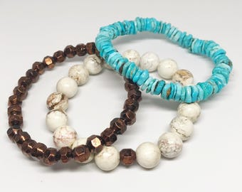 Bracelet Stack - African Turquoise, 10mm White Turquoise and Recycled Ethiopian Copper