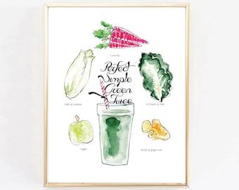 "Art Print ""Perfect Green Juice""Print ,Kitchen Art, watercolor print, kale, vegetable print"