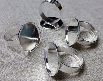 free shipping in UK - 5 pcs - Silver tone Ring Component Smooth Setting 18 mm Base