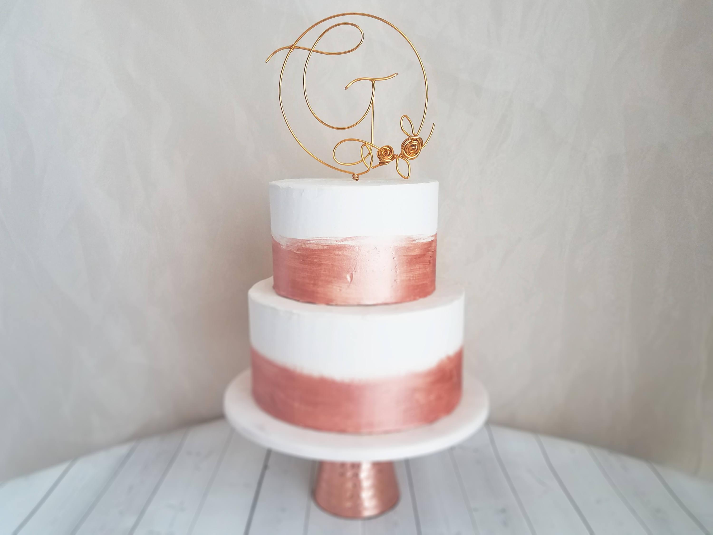 Monogramm-Kuchen-Deckel rustikale Cake Topper Draht Cake
