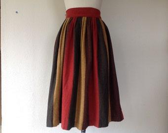 1950s Gathered striped wool skirt