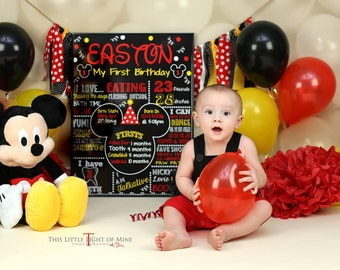 SALE Mickey Mouse Chalkboard Poster First Birthday Chalkboard Poster Mickey Mouse Clubhouse Colors 1st Birthday Chalkboard Mickey Party