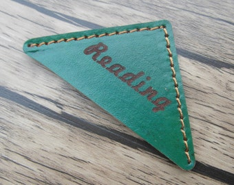 Green Leather Bookmark, Personalized Bookmark, Engraved Leather Book Corner, Gift For Booklover