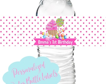 Cupcake candy Birthday Party,Wonderland Sweets water bottle labels,Cupcake Birthday party,party decorations,cupcake stickers,1st Birthday
