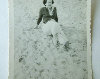 Vintage Photograph - Lady on The Sand - 1950
