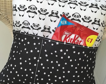 Panda Pocket Pillow for storing your book or Kindle.