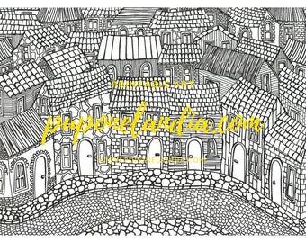 Printable illustration, Printable Art, Mandala illustration, Printable Houses sketch, Black and white illustration, Town Illustration