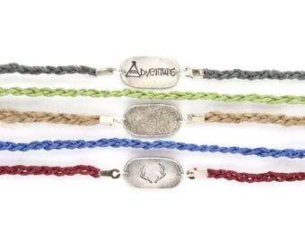 Customizable Pewter Oval Hemp Bracelets
