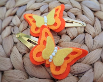 Butterfly Hair Clips - Wildfire