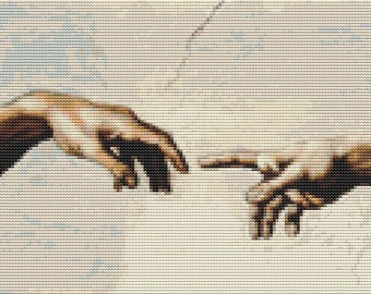 Hands of God and Adam Cross Stitch Pattern PDF, Art Cross Stitch, Michelangelo, Embroidery Chart