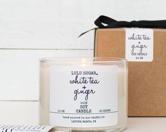 White Tea + Ginger Scented Soy Candle - 14 oz candle | Soy Candle Gift | Bridesmaid Gift | Gift for Her | Scented Candle | Candle Gift
