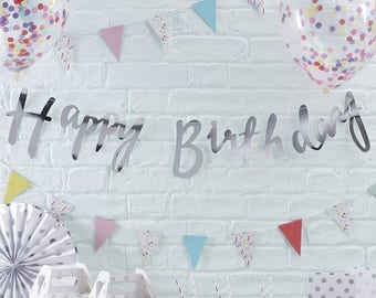 Silver Happy Birthday Bunting - Pick And Mix - NK0222
