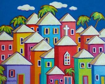 Tropical Art, Colorful Houses Print, Coastal Wall Decor, Caribbean Folk Art, Church art, Orange Cat Art, Seaside Village, Beach Art, Korpita