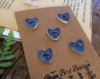 Star Gazer... Ceramic Heart Buttons, set of 5 blue stoneware buttons