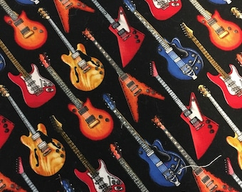 """Electric Guitars Novelty Fabric 7"""" X 7"""" Cotton"""