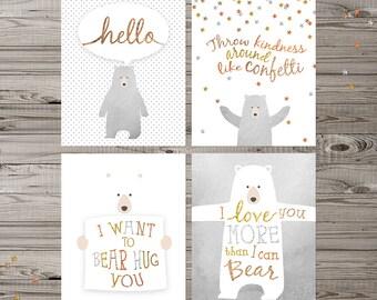 Bear Nursery Wall Art, Set of 4 prints, bear nursery art, woodland nursery, bear wall art, glitter nursery art, neutral nursery art