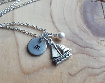 Sail Boat Charm Necklace -Sail Boat Charm with an an initial charm and accent bead in your choice of colors