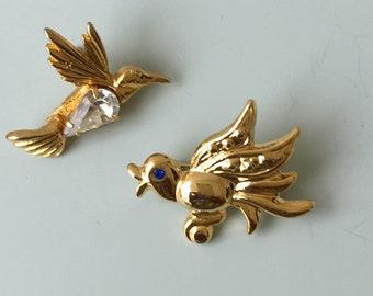 Vintage 2 Pc Petit Bird  Brooches