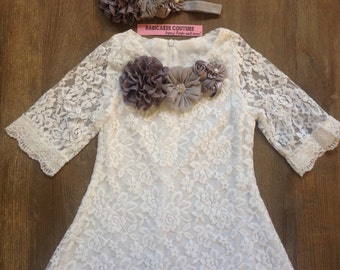 White & Gray Lace Dress, Girls White Lace Dress, Lace Birthday Dress, White and Gray Flower Girl Dress, Fancy Girls Dress, Girls Lace Dress