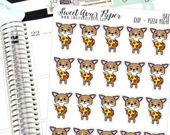 Pizza Night Planner Stickers - Pizza Planner Stickers - Dog Planner Stickers - Character Stickers - Chihuahua Planner Stickers  - 1582