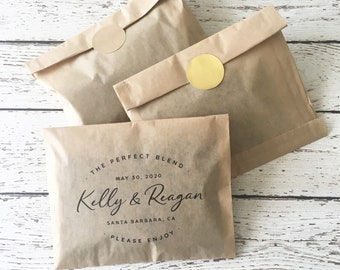 Wedding Coffee Favor Bag Kit - The Perfect Blend - Set of 24  | Coffee Favor Bag | Tea Favor Bag | Grease Resistant Favor Bag | TPB_KR