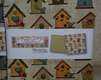 Garden Days - Charm Pack - Benartex - Bird Houses - Flowers - Bunnies and Bees