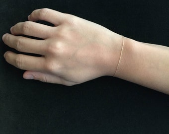 14k Gold Bracelet - Thin Layering Bracelet - Dainty Chain Bracelet - Minimalist Jewelry - Simple Bracelet - Petite Bridal Bracelet