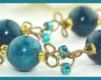 Teal Blue Chrysocolla Gemstone Trefoil Link Bracelet SRAJD