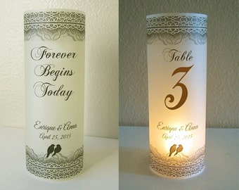12 Personalized Wedding Love Birds Centerpiece Luminaries Table Number Decoration