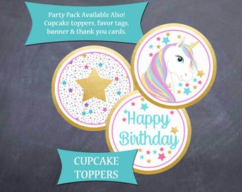 Unicorn Birthday Coordinating Cupcake Toppers - 3 designs - 12 per page - Instant Download