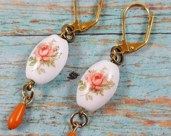 Grandmas china peach rose drop assemblage earrings upcycled