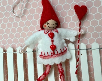 Valentine Elf Art Doll Ornament OOAK
