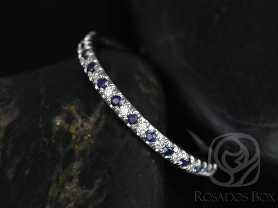 Rosados Box Kierra 14kt White Gold French Pave Blue Sapphire and Diamond HALFWAY Eternity Band