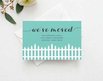 Fence Moving Announcement INSTANT DOWNLOAD - New Home, Moving Announcement Postcard, Change of Address, Moving Digital File, DIY Moving Card