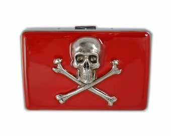 Silver Skull and Cross Bones Metal Accordion Wallet Inlaid in Hand Painted Red Enamel RFID Credit Card Case w Organizer Inside Personalized