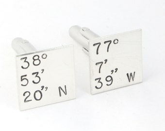 Coordinates Cufflinks - Sterling Silver Cuff Links - Father's Day Gift for Dad - Shirt Fasteners -Custom Wedding Cufflinks -Anniversary Gift