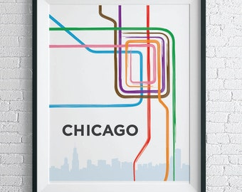 Chicago L Train Map Print / Chicago Loop Wall Art