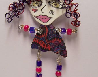 Curly Hair Shrink Plastic Art Doll Pin Wearable Art Piece Signed by Jennifer Obertin OOAK