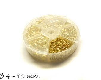 1 jump rings box gold, Ø 4-10 mm