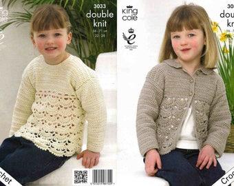 "King Cole Crochet Pattern 3033~Scalloped Cardigan & Sweater~DK~22-28"""