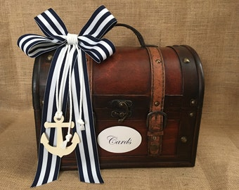 Nautical Wedding Trunk, Beach Wedding Card Holder, Card Box, Money Holder, Money Box, Wedding Suitcase, Rustic Wedding Box