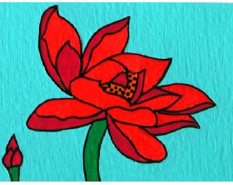 """ACEO Nr. 15  Red Flower... original painting, acrylic on paper, 2,5""""x 3,5"""", 6,4 x 8,9 cm, flower, flora, plant, fantasy"""