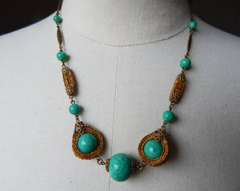 Unusual Art Deco Czech Green Peking Glass and Brass Filigree Necklace with Plaited Straw Connectors - 1930s