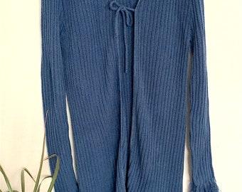 90s long sweater / long blue sweater / tie closure / frayed hems sweater