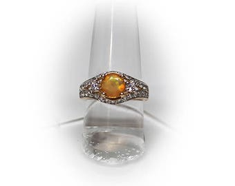 10K Solid Gold Opal Statement Ring