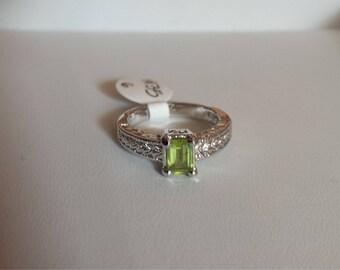 Peridot Sterling Silver Ring, Natural Peridot Ring, Emerald Cut Peridot, Bright Green Peridot, Natural Gemstone, August Birthstone